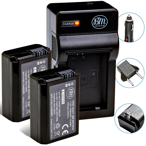 BM Premium 2 NP-FW50 Batteries and Charger for Sony DSC-RX10, II, III, IV, Alpha 7, 7R a7 a7R A7s A7s II a3000 a5000 a6000 a6300 A6400 a6500 Cameras