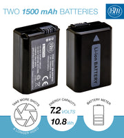 BM 2 NP-FW50 Batteries and Dual Charger for Sony DSC-RX10 II, III, IV Alpha 7 a7 A7 II a7R A7s II a3000 a5000 a6000 A6100 a6300 a6400 a6500 Cameras
