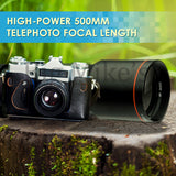 High-Power 500mm f/8 Manual Telephoto Lens for Canon SLR Cameras