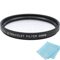 49mm UV Protective Filter for Canon, Nikon, FujiFilm, Olympus, Panasonic, Pentax, Sigma, Sony, Tamron Cameras and Camcorders