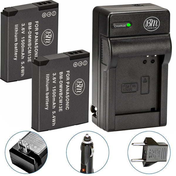 BM 2 DMW-BCM13E Batteries and Charger for Panasonic Lumix DC-TS7, DMC-FT5A LZ40 TS5 TS6 TZ37 TZ40 TZ41 TZ55 TZ60 ZS27 ZS30 ZS35 ZS40 ZS45 ZS50 Cameras