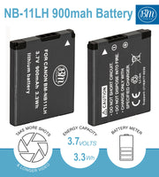BM 2 NB-11LH Batteries and Charger for Canon PowerShot Elph 320, Elph 340, Elph 350, Elph 360, A2300 A2400 A2600 A3400 A4000 SX400 SX410 SX420 Cameras