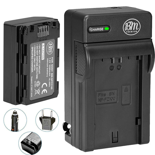 BM Premium NP-FZ100 Battery and Charger for Sony a7S III, a6600, a7R IV, A7R III, A7R3, a7 III, Alpha A9, Alpha a9 II, Alpha 9R, A9R, Alpha 9S Cameras