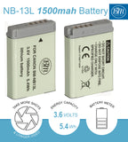 BM NB-13L Battery and Charger for Canon PowerShot G1 X Mark III, G5 X Mark II, G7 X Mark II, G7 X Mark III, G9 X Mark II SX620 SX720 SX740 HS Cameras