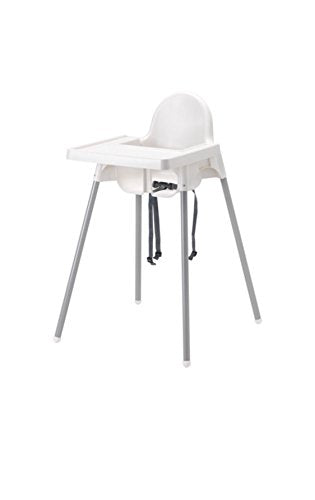 Ikea's ANTILOP Highchair with safety belt, white, silver color and ANTILOP Highchair tray, white - Nerds Guide to FI