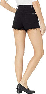 7 For All Mankind High Waist Cut Off Shorts w/Exposed Buttons in Pitch Black Pitch Black 28 - Nerds Guide to FI