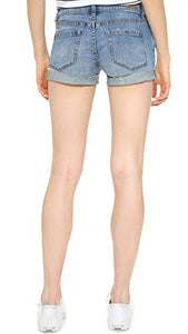 [blanknyc] Women's Denim Distressed Cuffed Short, Blue, 24 - Nerds Guide to FI