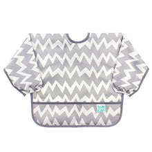 Load image into Gallery viewer, Bumkins  Sleeved Bib / Baby Bib / Toddler Bib / Smock, Waterproof, Washable, Stain and Odor Resistant, 6-24 Months  - Gray Chevron - Nerds Guide to FI