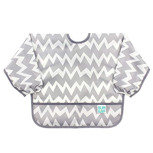 Bumkins  Sleeved Bib / Baby Bib / Toddler Bib / Smock, Waterproof, Washable, Stain and Odor Resistant, 6-24 Months  - Gray Chevron - Nerds Guide to FI