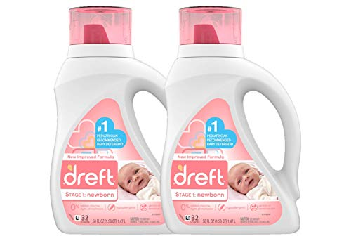 Dreft Stage 1: Newborn Hypoallergenic Liquid Baby Laundry Detergent (HE), Natural for Baby, Newborn, or Infant, 50 Ounce (32 Loads), 2 Count (Packaging May Vary) - Nerds Guide to FI