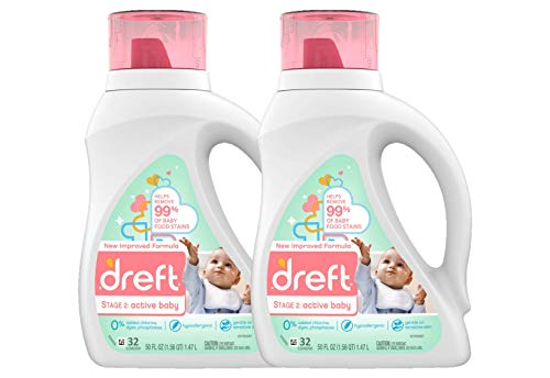 Dreft Stage 2: Active Hypoallergenic Liquid Baby Laundry Detergent for Baby, Newborn, or Infant, 50 Ounces(32 Loads), 2 Count (Packaging May Vary) - Nerds Guide to FI