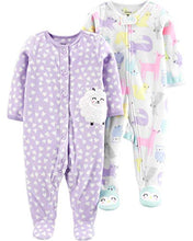 Load image into Gallery viewer, Carter's Baby Girls 2-Pack Fleece Footed Sleep and Play, Woodland Animals/Purple Sheep, 9 Months - Nerds Guide to FI
