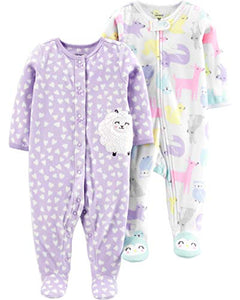 Carter's Baby Girls 2-Pack Fleece Footed Sleep and Play, Woodland Animals/Purple Sheep, 9 Months - Nerds Guide to FI