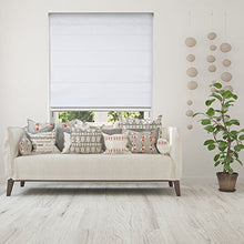Load image into Gallery viewer, Calyx Interiors Cordless Lift Fabric Roman Shades in Size 34-Inch Width x 60-Inch Height Color Blackout White - Nerds Guide to FI
