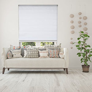 Calyx Interiors Cordless Lift Fabric Roman Shades in Size 34-Inch Width x 60-Inch Height Color Blackout White - Nerds Guide to FI