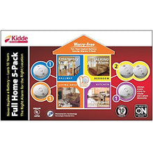Load image into Gallery viewer, Kidde 21010613 Worry Free 10-Year Battery Operated Full Home 5-Pack (4 Smoke alarms, 1 Combo Smoke/CO alarm) - Nerds Guide to FI