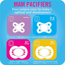 Load image into Gallery viewer, MAM Night Pacifiers (2 Pack, 1 Sterilizing Pacifier Case), MAM Pacifiers 0-6 Months, Best Pacifier for Breastfed Babies, Glow in the Dark Pacifier, Baby Boy Pacifier - Nerds Guide to FI