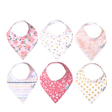 "Load image into Gallery viewer, Baby Bandana Drool Bibs for Drooling and Teething 6 Pack Gift Set for Girls ""Amelia Set"" by Copper Pearl - Nerds Guide to FI"