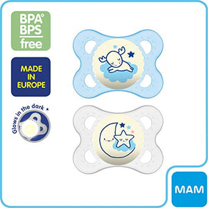 MAM Night Pacifiers (2 Pack, 1 Sterilizing Pacifier Case), MAM Pacifiers 0-6 Months, Best Pacifier for Breastfed Babies, Glow in the Dark Pacifier, Baby Boy Pacifier - Nerds Guide to FI