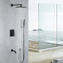 Load image into Gallery viewer, Black,Brass,Shower System with High Pressure 8 Inch Square Rainfall Shower Head,Handheld Shower Head, Tub Spout and Shower Faucet Valve, Bathroom Luxury Rain Mixer Shower Combo Set Wall Mounted - Nerds Guide to FI