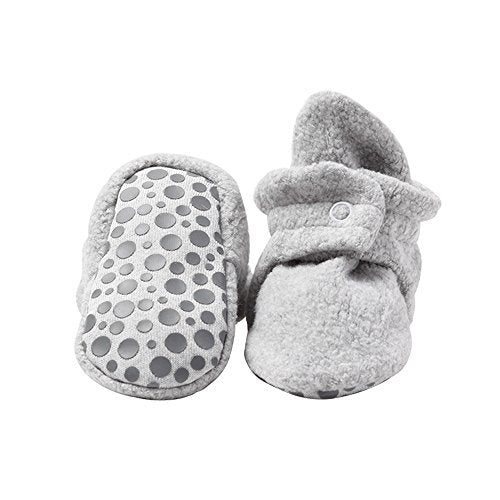 Zutano Cozie Fleece Baby Booties with Cotton Lining and Grippers, Unisex, For Infants, Babies, and Toddlers, Heather Gray, 18M - Nerds Guide to FI