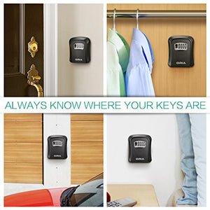 ORIA Key Storage Lock Box, Wall Mounted Key Lock Box with 4 Digit Combination, Holds up to 5 Keys, for House Keys or Car Keys, Black - Nerds Guide to FI