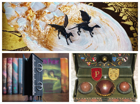 thestral earrings, vanishing cabinet minature, prefect gryffindor badge, quidditch captain badge