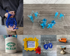 New products including blue french horn, friends pickle jar, friends photo frame, prefect badge earrings, harry potter patronus earrings, friends sofa, pensieve minature.