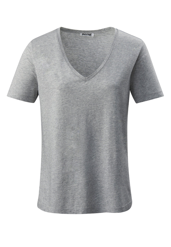 Grey| Tencel V-Neck T-shirt grau Vorderansicht