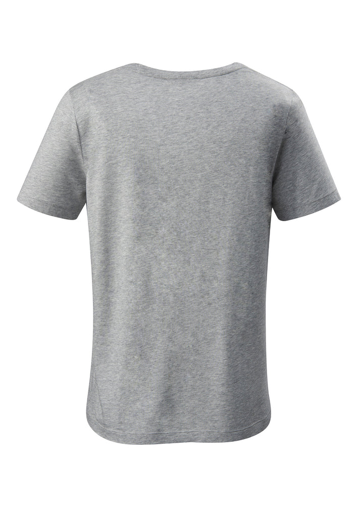 Grey| Tencel V-Neck T-Shirt grau Rückansicht