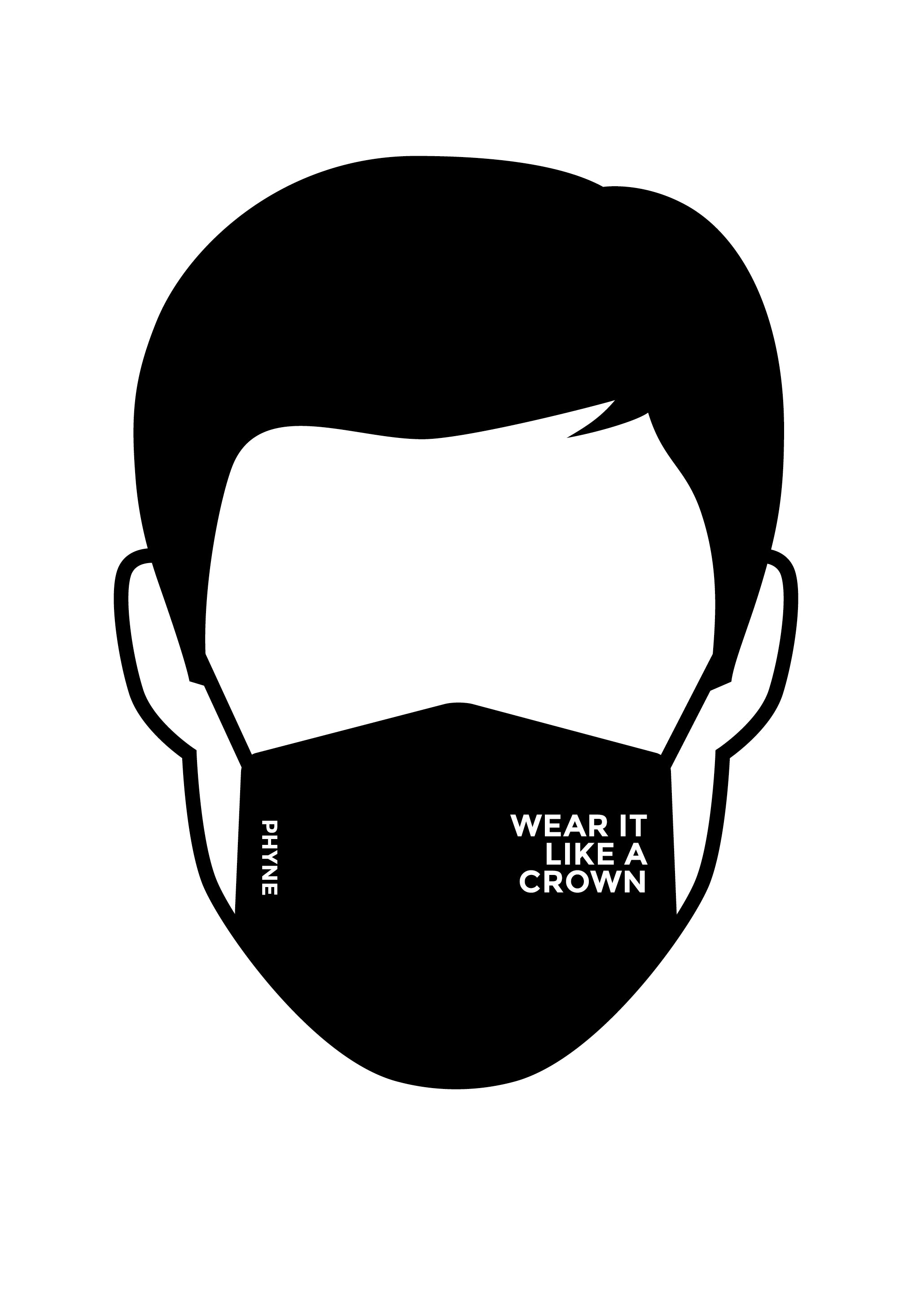 Maske Wear it like a Crown Black/White