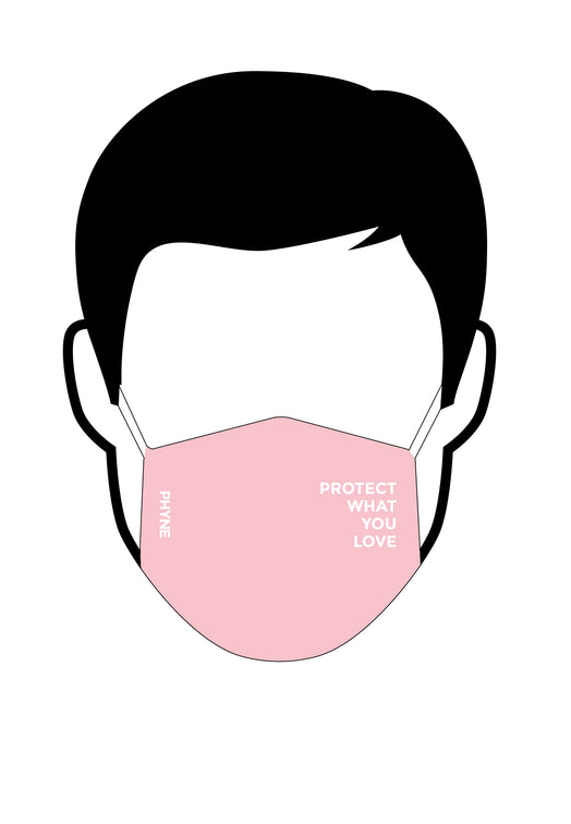 Illustration von Mund und Nasenmaske mit Protect What You Love Print pink