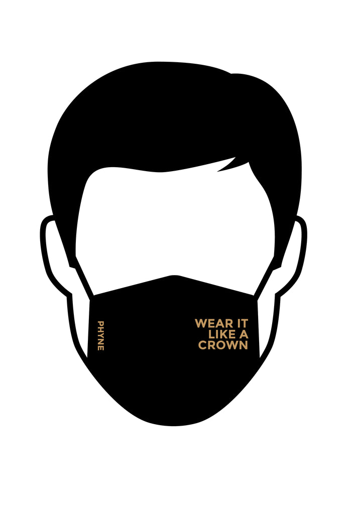 Illustration von Mund und Nasenmaske mit goldenem Wear It Like A Crown Print in Schwarz