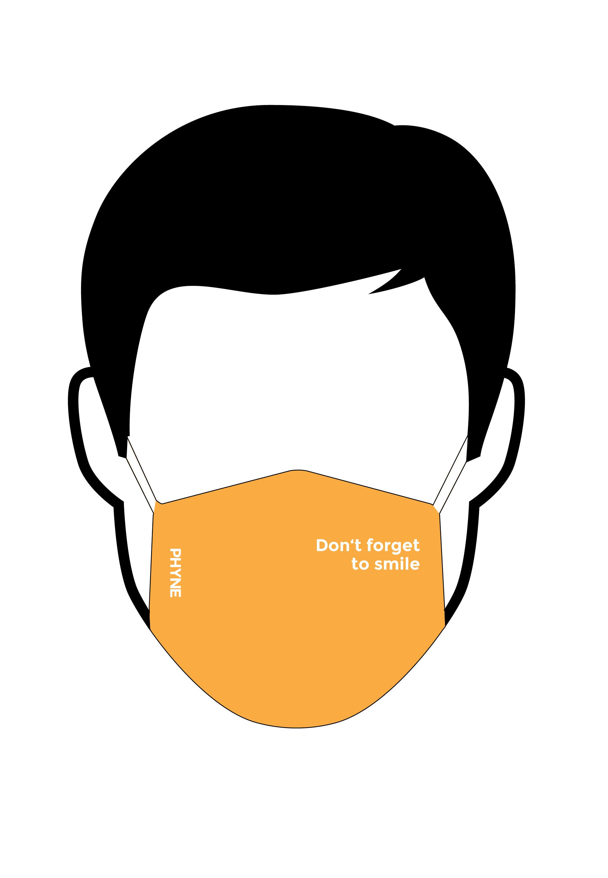 Illustration von Mund und Nasenmaske mit Don't Forget To Smile Print in Orange