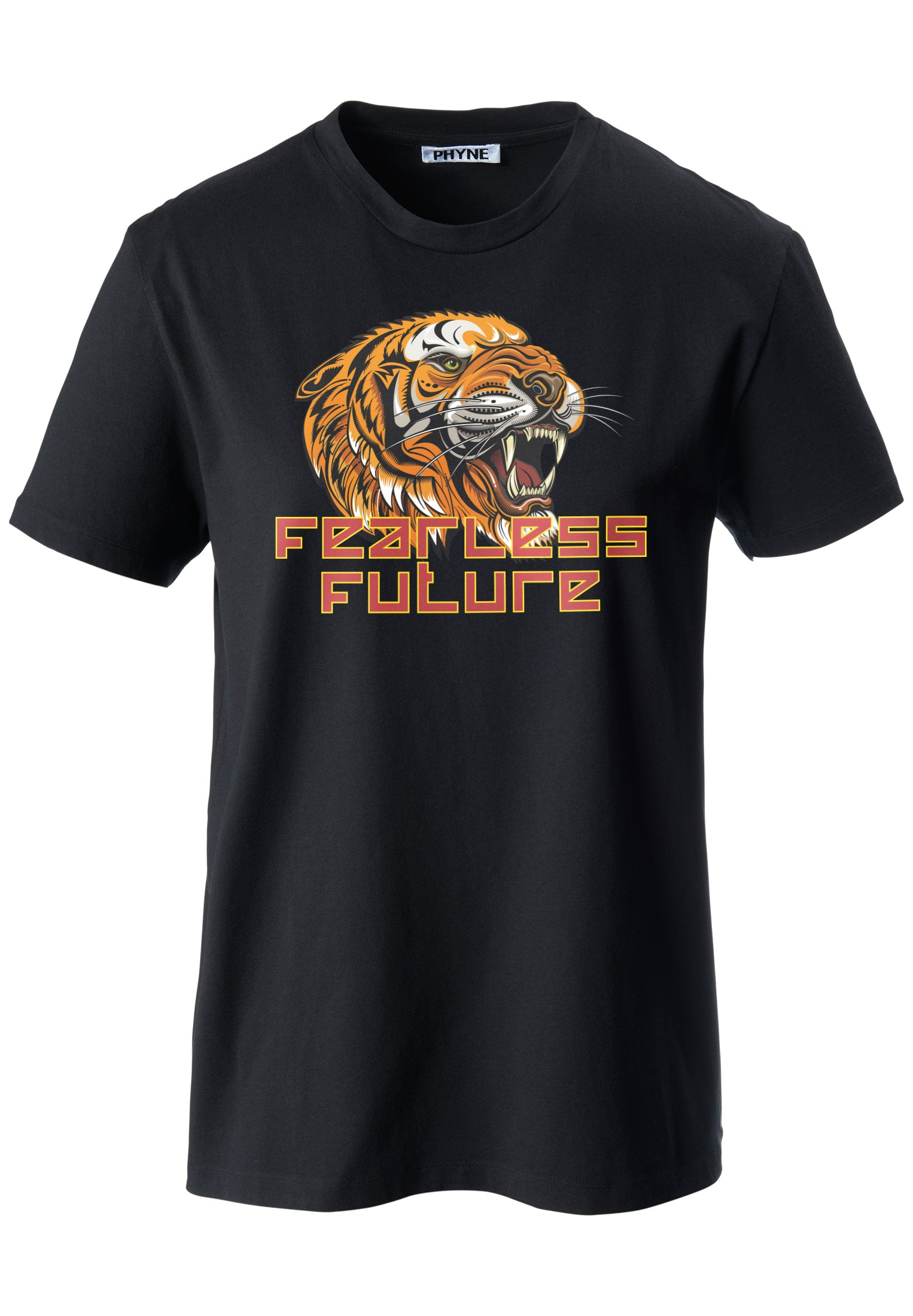 Black| Fearless Future Unisex T-Shirt mit Tiger Print in schwarz