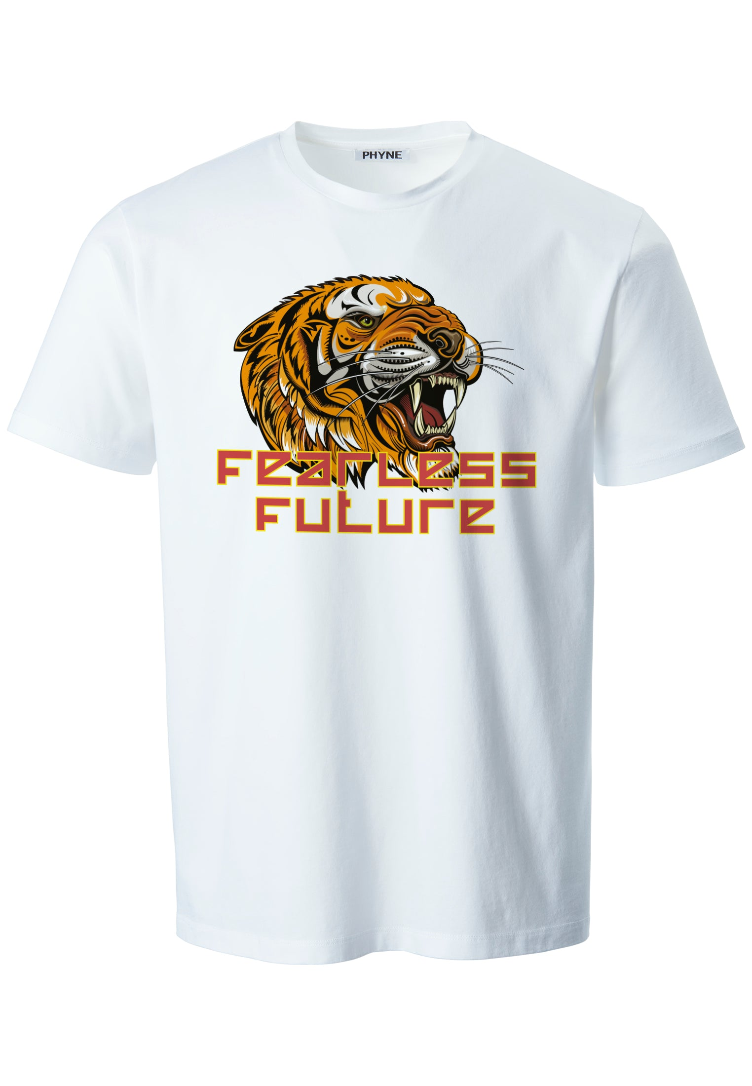 White| Fearless Future Unisex T-Shirt mit Tiger Print in weiß