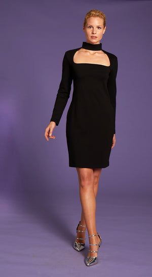Organic stretch Cotton black minidress
