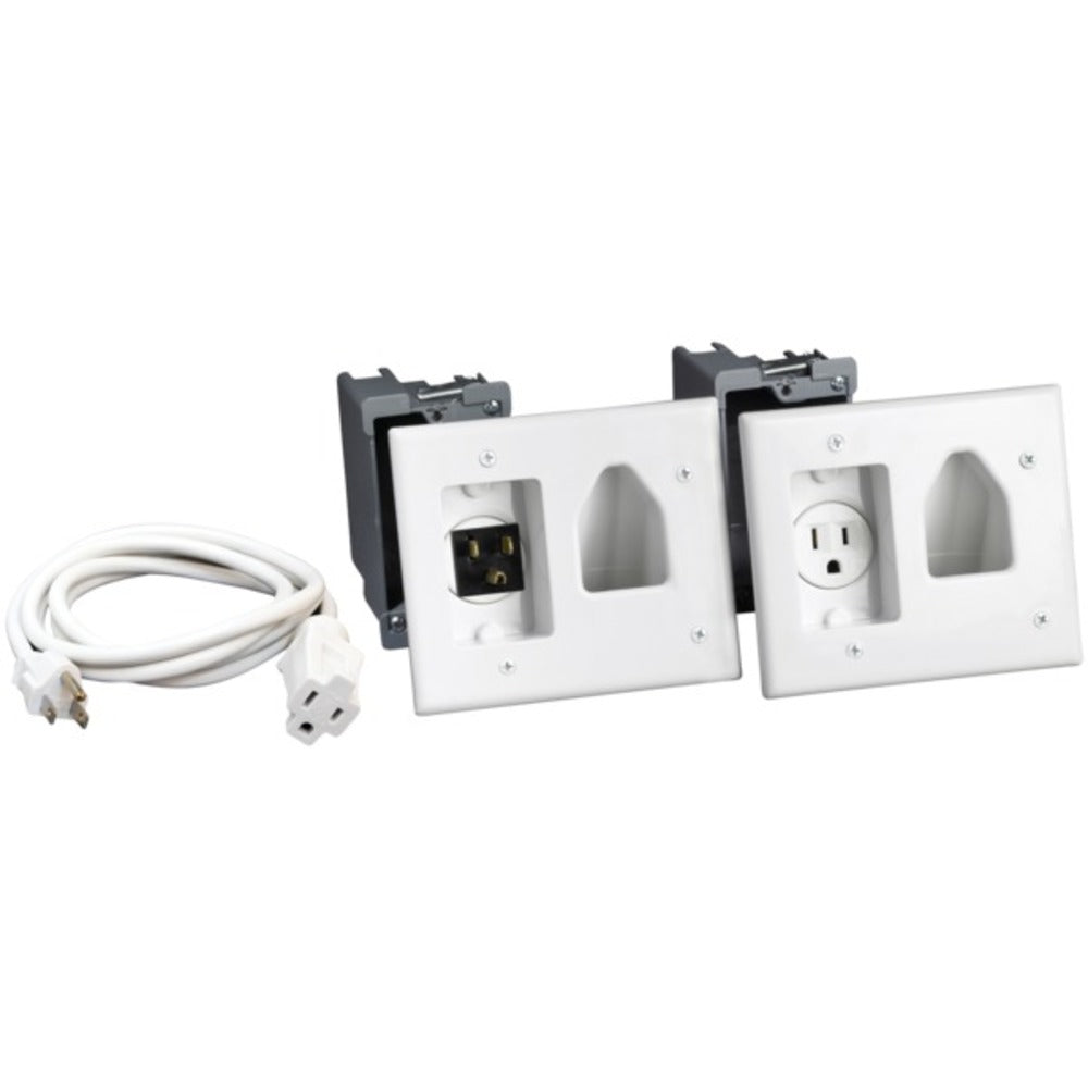 DataComm Electronics 45-0023-WH Recessed Pro-Power Kit with Straight Blade Inlet