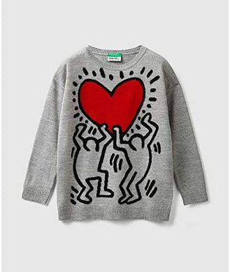 Benetton Keith Haring Kids Knit sweater Holding Heart Gray