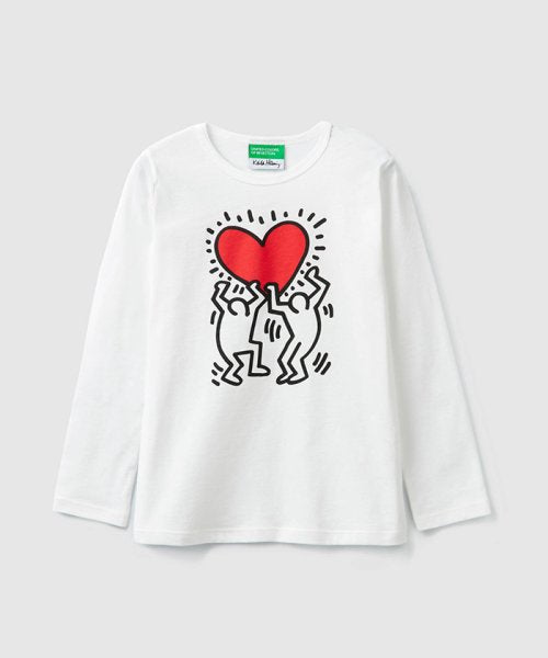 Benetton Keith Haring Kids Long Sleeve Holding Heart White