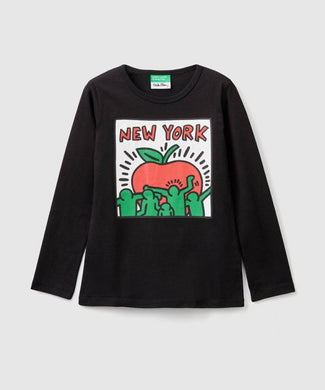 Benetton Keith Haring Kids Long Sleeve NY Apple Black