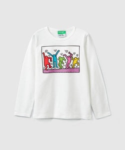 Benetton Keith Haring Kids Long Sleeve Five Dancer White