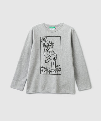 Benetton Keith Haring Kids Long Sleeve Liberty Gray