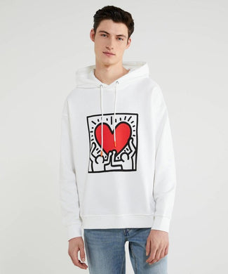 Benetton Keith Haring Hoodie Holding Heart White
