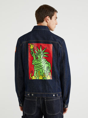 Benetton Keith Haring Back Print Denim Jacket