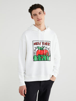 Benetton Keith Haring Hoodie NY Apple White