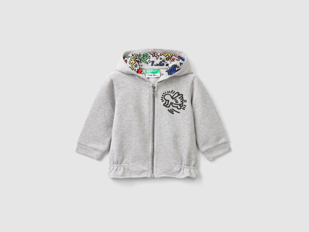 Benetton Keith Haring Kids Sweat Zip-Parker Gray