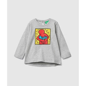 Benetton Keith Haring Kids (Mini) Long Sleeve Hug Baby Gray