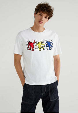 Benetton Keith Haring T-shirt Dancer Dog White