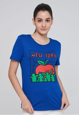 Benetton Keith Haring T-shirt NY Apple Blue